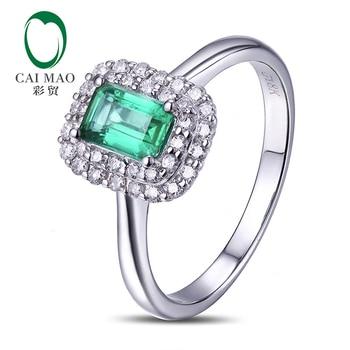 b504c402278 Puro 14 KT oro blanco 0.71ct anillo de compromiso de diamante Esmeralda  colombiana envío gratis