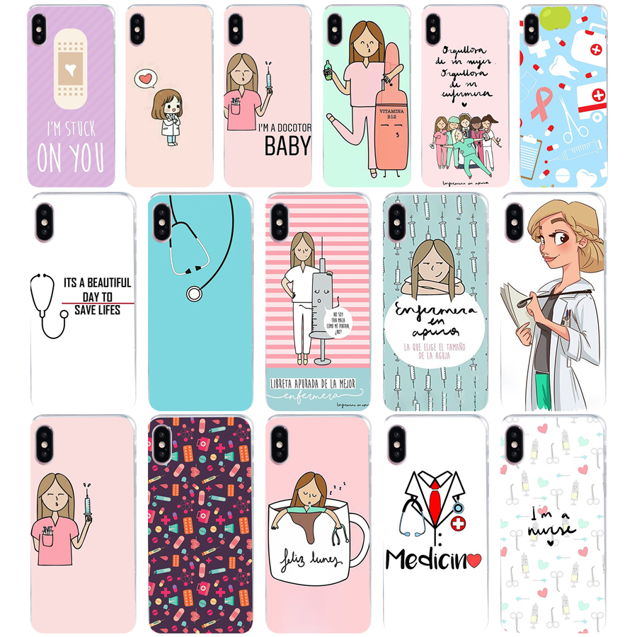 98we Cute Cartoon Medicine Doctor Soft Silicone Tpu Cover Phone Case For Iphone 5 5s Se X Xr Xs Max Case Crease-Resistance Half-wrapped Case