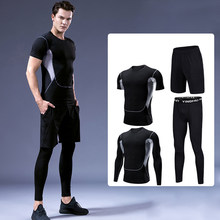Summer Men's Yoga Fitness Suit Outdoor Sports Running Suit Casual Plus Size Tracksuit Men Long Sleeve Solid Round Neck Fourpiece(China)