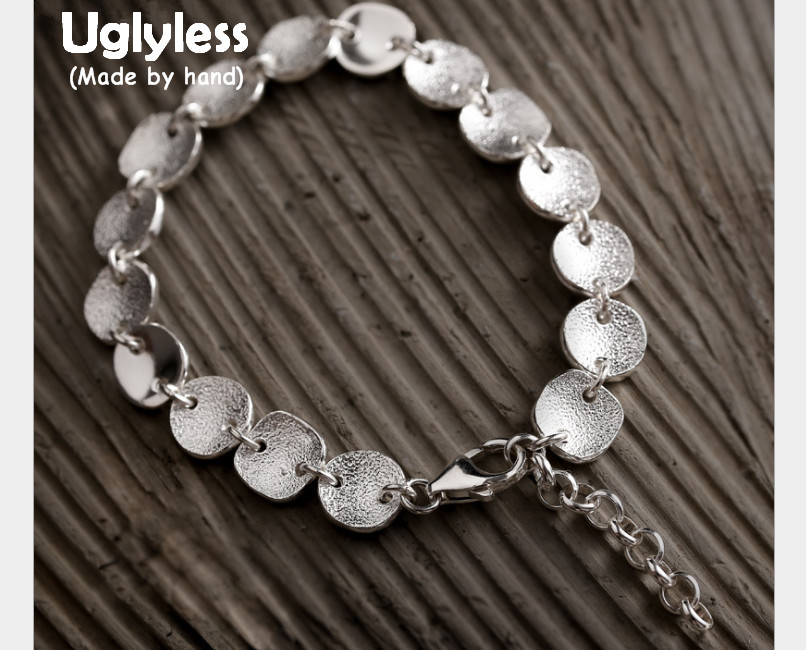 Uglyless Real S 990 Silver Flakes Beading Bracelets for Women Simple Fashion Handmade Brushed Adjustable Bracelet Fine JewelryUglyless Real S 990 Silver Flakes Beading Bracelets for Women Simple Fashion Handmade Brushed Adjustable Bracelet Fine Jewelry