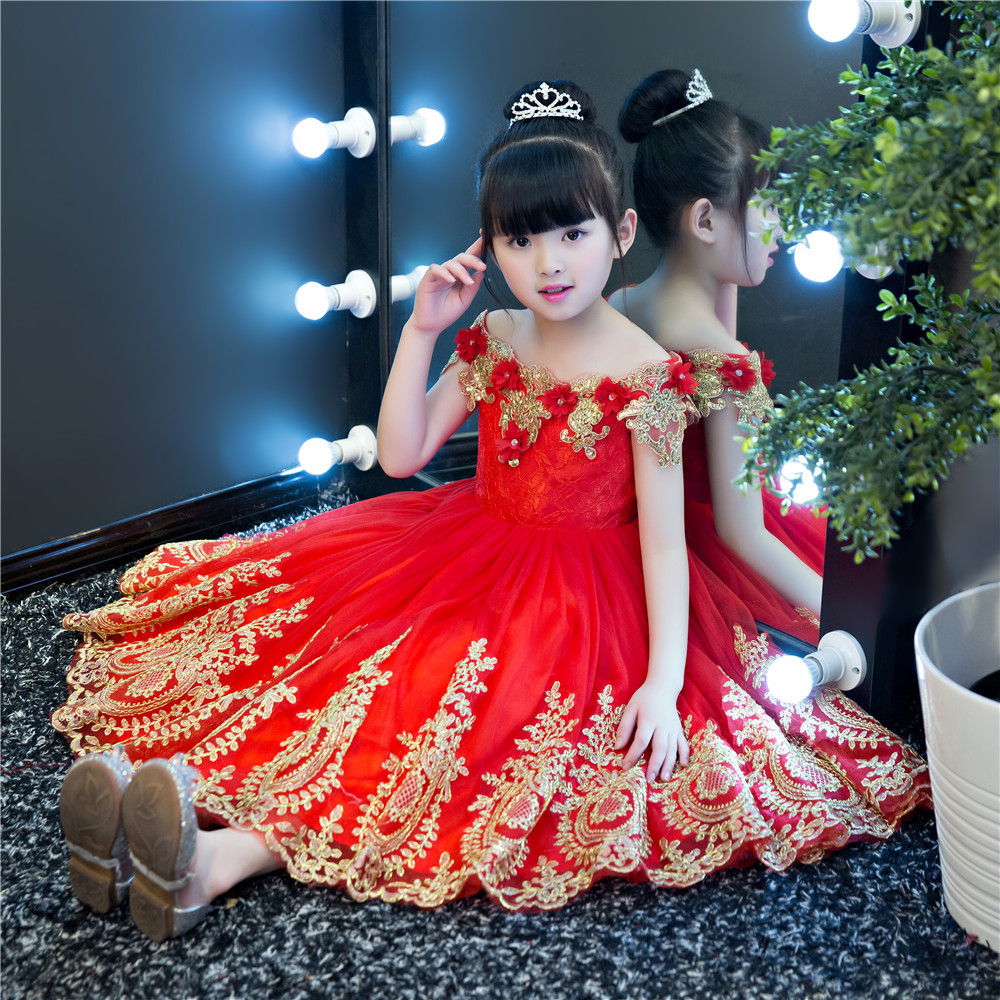 Shoulderless Flower Girl Dresses for Wedding Gold Appliques Holy Communion Dress Sequined Ball Gown Kids Party