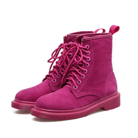 Red Boots 2017 Ankle Women Red Boot Lace Up Fashion Women Shoes Winter Round Toe Black
