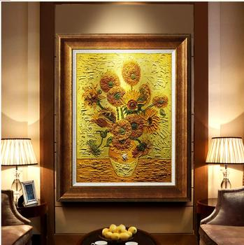 Hand Painted Vincent Van Gogh Famous Sunflower Oil Painting For Living Room Hotel