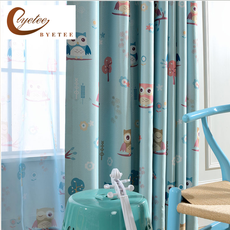 [byetee] Children Cartoon Owls Boys Girls Bedroom Blackout Kitchen Door Curtains For Living Baby Room Curtains Curtain Drapes