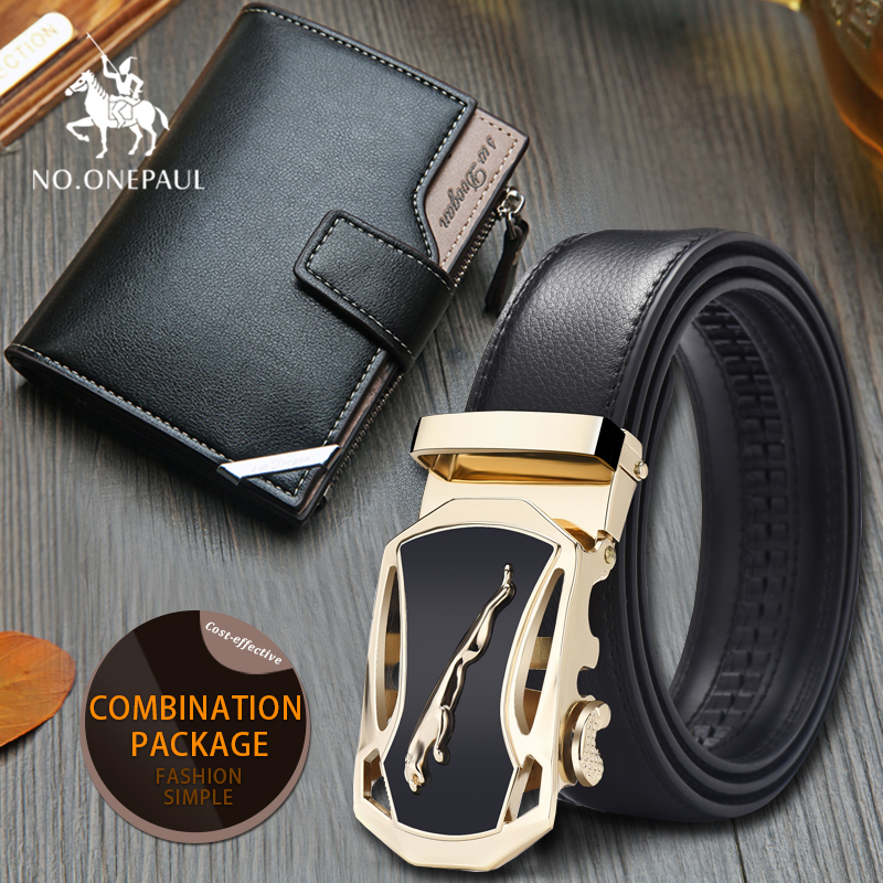 Set/sets  Suit New Designer Leather StrapAutomatic Buckle For Men Girdle  Men Animal Picture Leopard Automatic Buckle Men Wallet