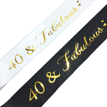 40 Fabulous Gold Glitter Satin Sash Happy 40th Birthday Party Decoratons Ideas Supplies Favor Gifts