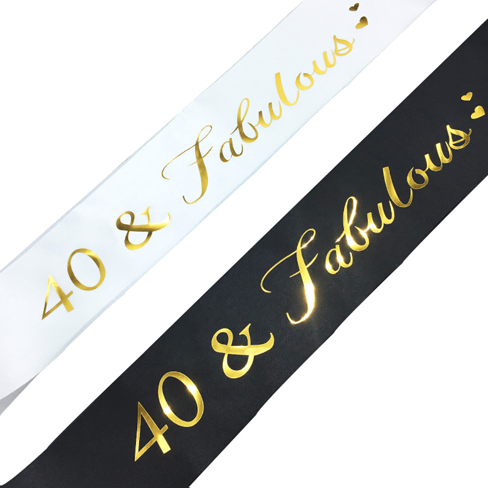 40 & Fabulous Gold Glitter Satin Sash Happy <font><b>40th</b></font> <font><b>Birthday</b></font> Party Decorations <font><b>Ideas</b></font> Supplies Ribbon Sash Favor Gifts for Women <font><b>Men</b></font> image