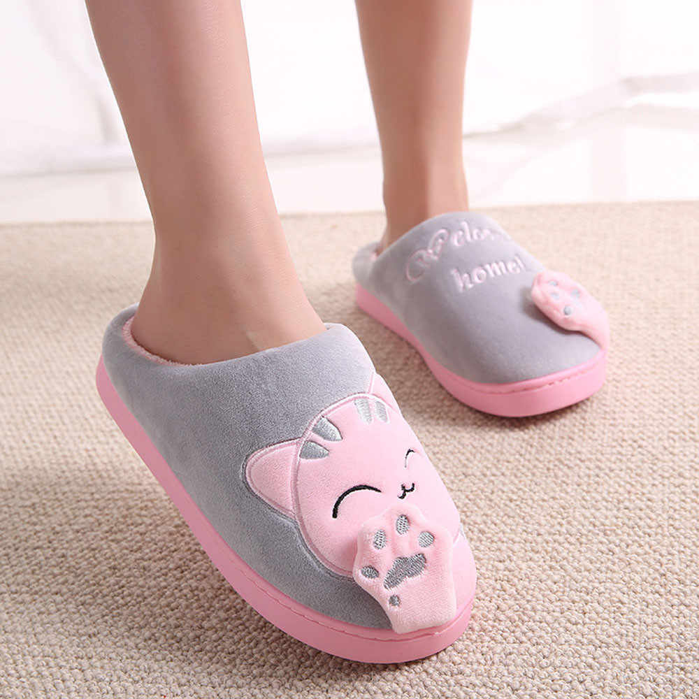 Women Home Slippers Winter Warm Flip Flop Shoes Cartoon Cat Girls Cute Non-slip Warm Indoors Bedroom Floor Shoes Slippers