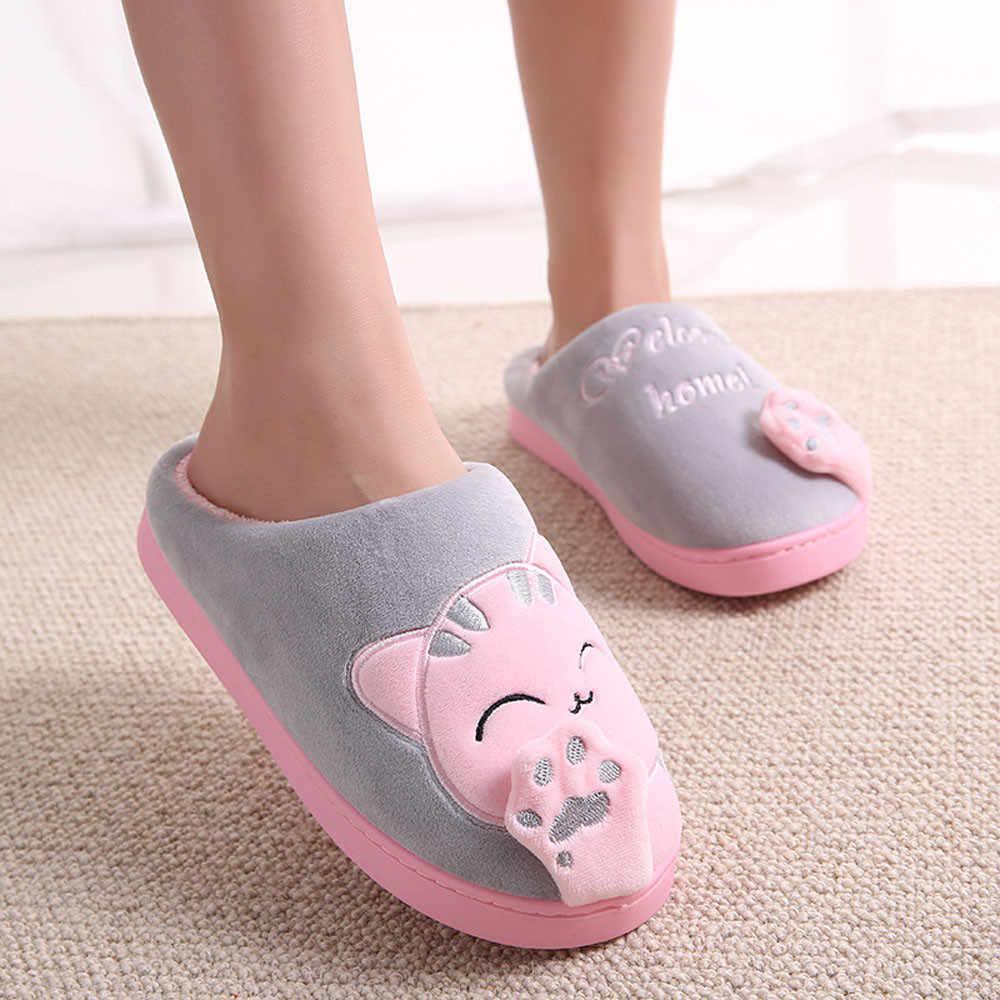 ผู้หญิงรองเท้าแตะฤดูหนาว WARM Flip Flop รองเท้าการ์ตูนแมวน่ารักลื่นอบอุ่นในบ้านห้องนอนรองเท้ารองเท้าแตะ
