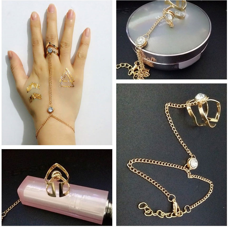 new design fashion gold link chain hollow out geometry anillos ...