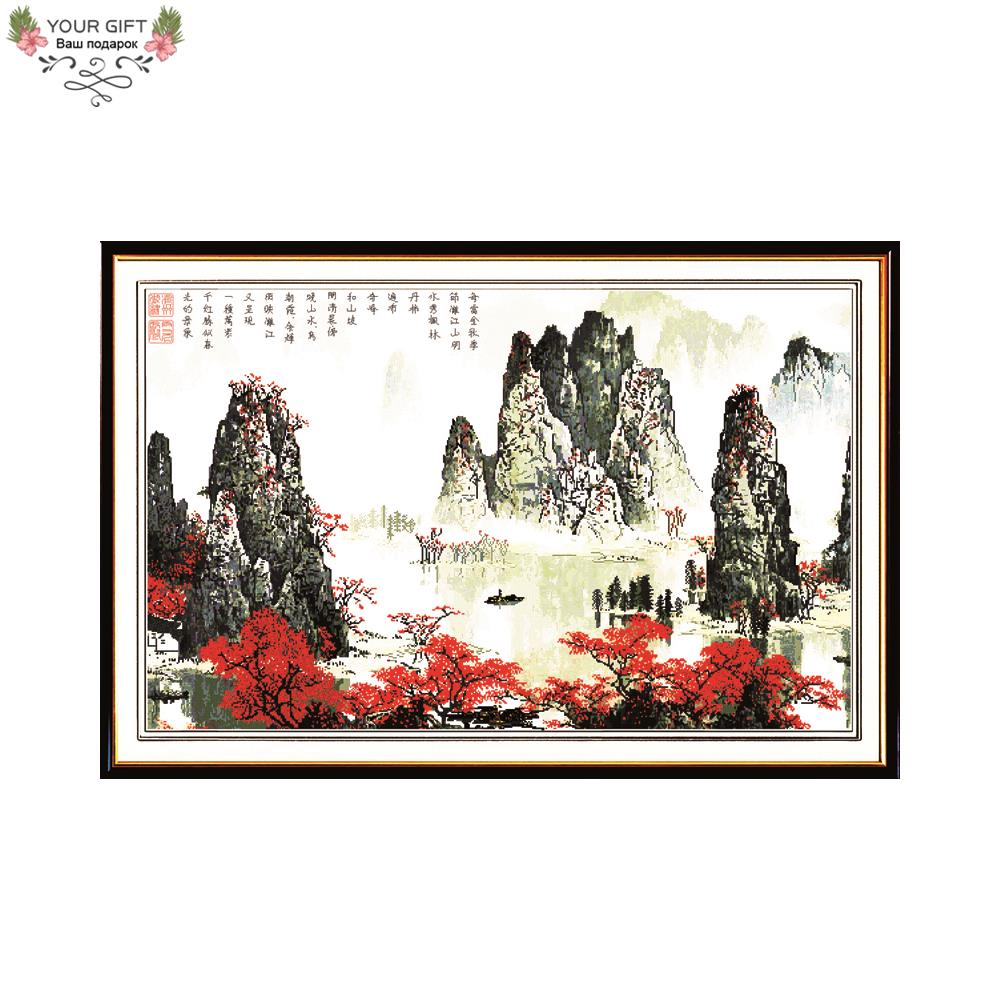 Joy Sunday F056 Free Shipping Counted and Stamped Home Decor China Lijiang River Landscape Embroidery Cross Stitch Kits