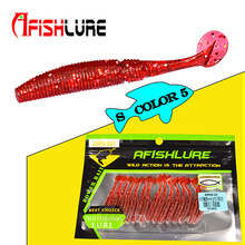 15pcs/bag soft Paddle Tail lure 50mm 1g T Smell Fish Tail Worm Fishing Lure Bass Fishing Lures Plastic larva Crankbait Pesca