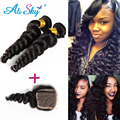 Loose Wave Indian hair with closure 2 pcs Indian Hair Bundle Deals with lace closures hair Bundles Websites Amazing hair company