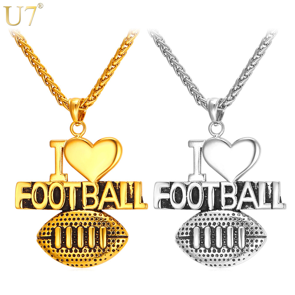 U7 stainless steel heart necklace for american football sporty fan u7 stainless steel heart necklace for american football sporty fan gold color i love football pendant for men jewelry p847 in pendant necklaces from aloadofball Image collections