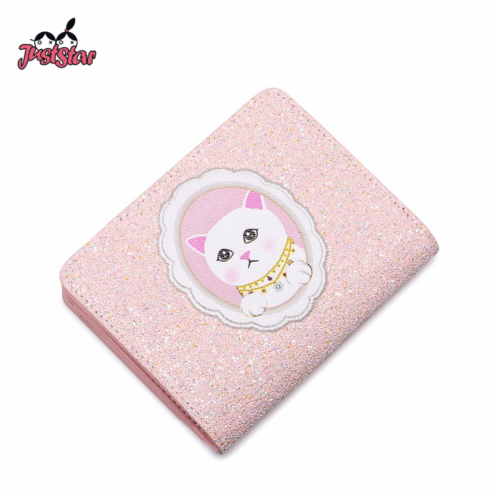 Gift Box Packing JUST STAR Ladies Embroidery Cartoon Cat Printing Wallet JZ4574 Female Coin Purse Women's PU Leather Wallets