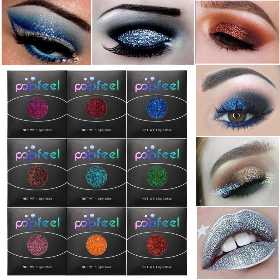 Hot Sale Cmaadu 4 Coloful Glitter Eyeshadow Makeup Powder Palette Women Smoky Eyes Metallic Shimmer Eye Shadow Green Blue Purple Cosmetic Beauty Essentials Eye Shadow