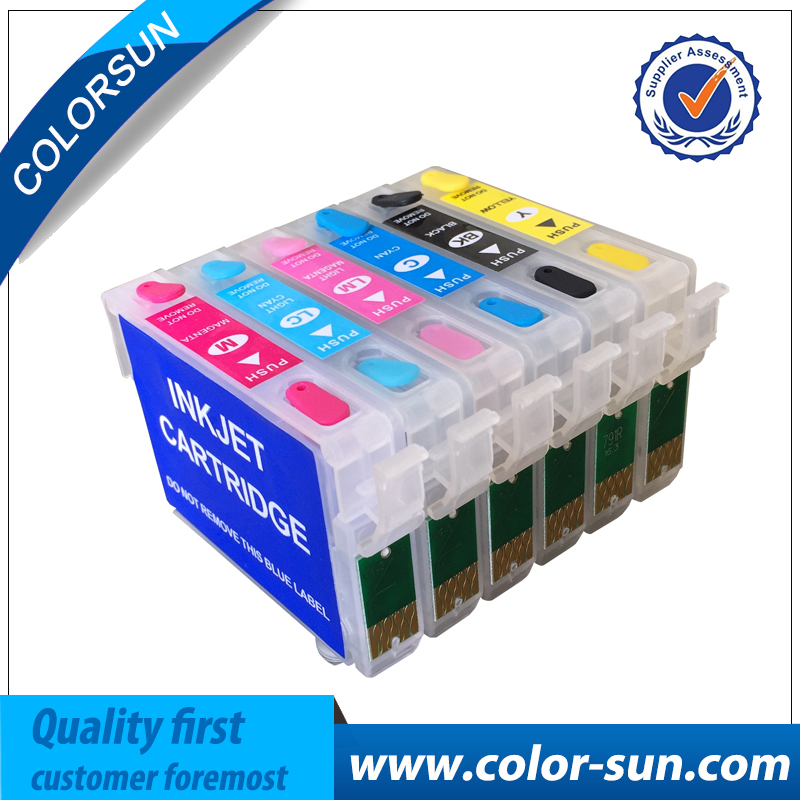 New T0981- T0986 Refillable Ink Cartridge For Epson Artisan 600/700/800/710/810/725/835/837/730 Printer With Chips