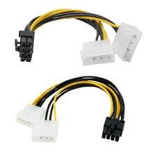 بطاقة فيديو PCI Express 6 بوصة 2 × موليكس 4 دبوس إلى 8 دبوس Pci-e ATX PSU كابل محول الطاقة-موليكس إلى Pcie 8 دبوس محول