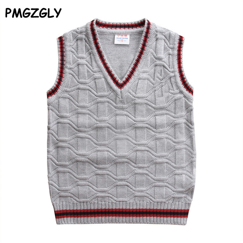 3-10 Year Kids Boy Vest Solid Colors Children Kids Boys V-neck Waistcoat Fashion style Kids boys pullover knitted vest coat