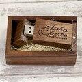 Customized Wedding USB Flash Drive Natural Walnut Wood Pendrive 2.0 4gb 8gb 16gb 32gb Storage Disk