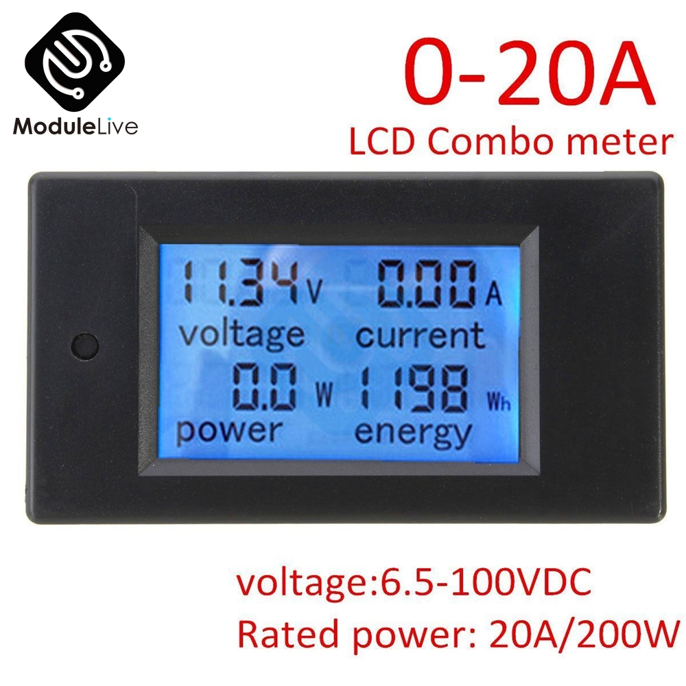 DC 6.5~100V 0~20A 4 In 1 Digital LCD Voltage Current Power Energy Meter Large LCD Screen DC Volt Tester Voltmeter Ammeter