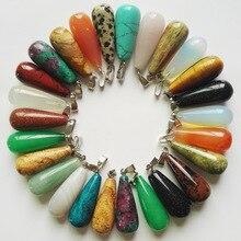 Colliers et pendentifs de boucles doreilles en forme de goutte deau naturelle pour hommes, accessoires breloques, en forme de lot de 50, livraison gratuite, vente en gros