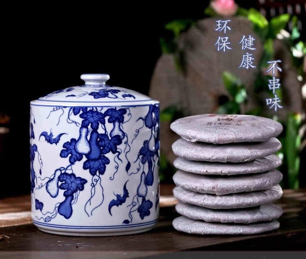 Maloobchodní čínské ručně malované modré a bílé keramické úložiště Jar Pu'er Tea Caddy