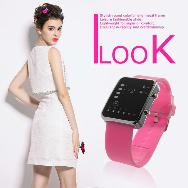 Esporte led relógios rosa moda feminina relógio de pulso quadrado casal presente silicone marca de luxo silicone led binary watch 4