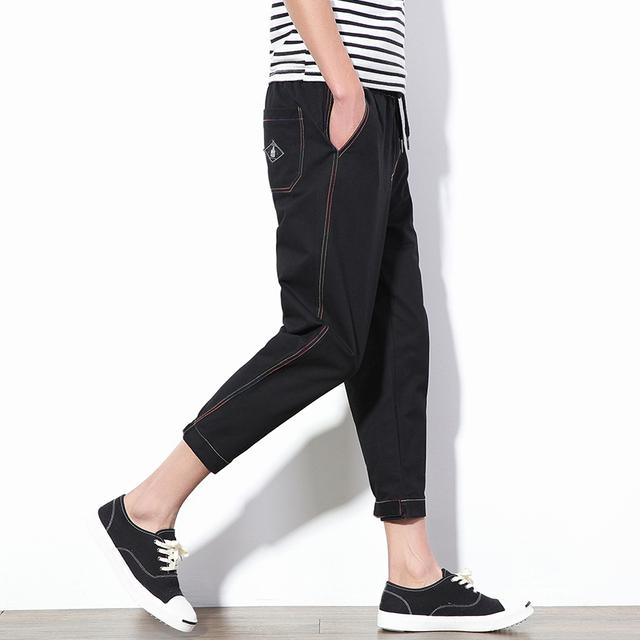 2016 Del Otoño Del Resorte nueva Harem de lino pantalones casuales hombres tobillo longitud del pantalón pantalones de línea masculina casual Nueve pantalones Tamaño de los hombres 5XL