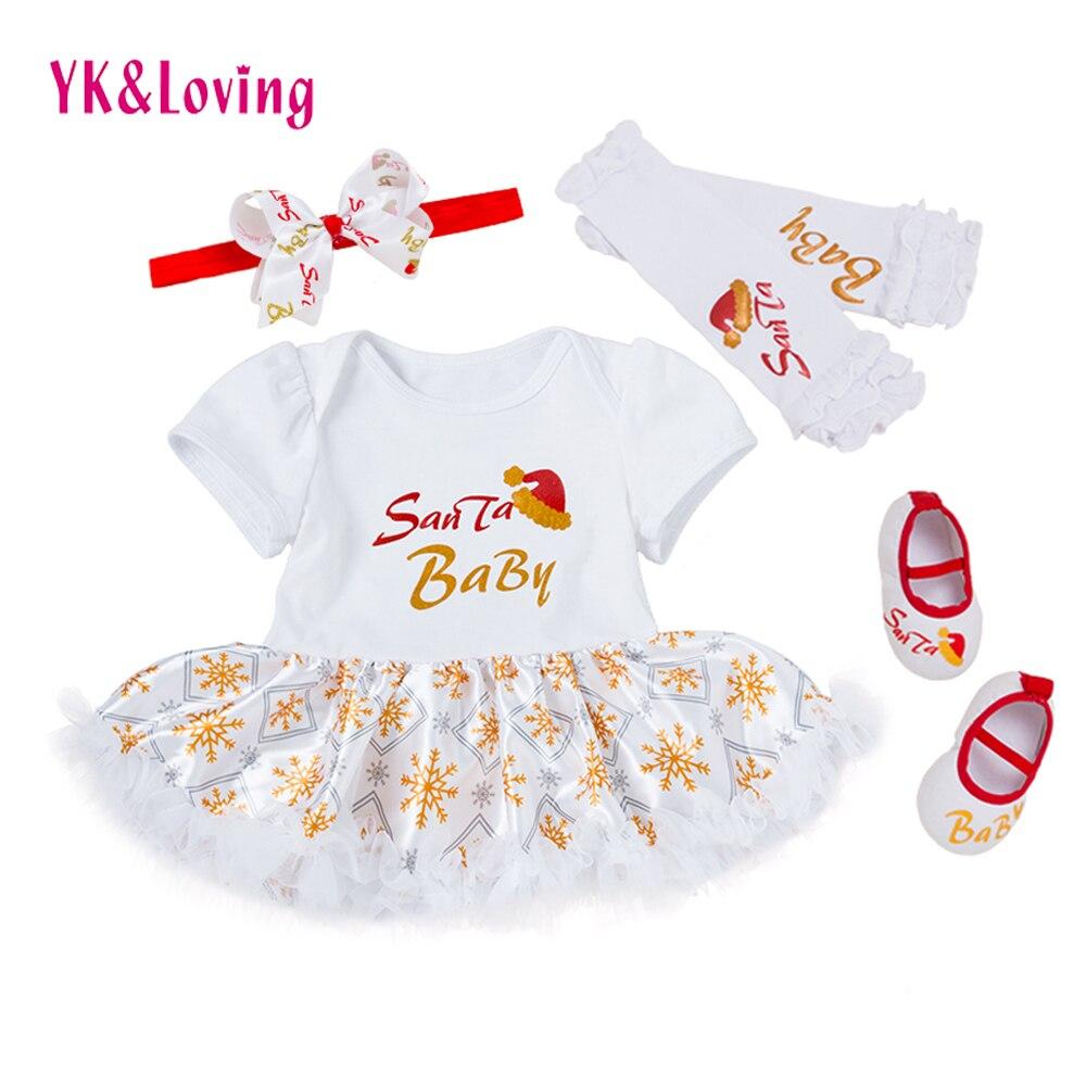 Newborn Christmas Clothes Printing Baby Santa romper Ruffle Tutu Dress /Leg warmers /Shoes My First Xmas New Year Clothing Sets my christmas cd