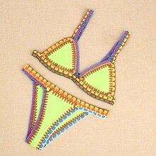 Free Shipping Women Bikini Set Push Up Crochet Multicolor
