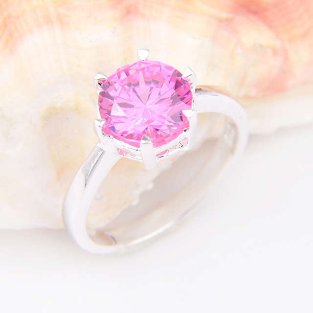 Promotion Jewelry Lucky Shine Fire Pink Kunzite Silver Plated