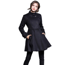 Elegant Double Breated Skirted Coat Women Fashion Stand Collar Slim Dress Woolen CoatLong Winter Jacket