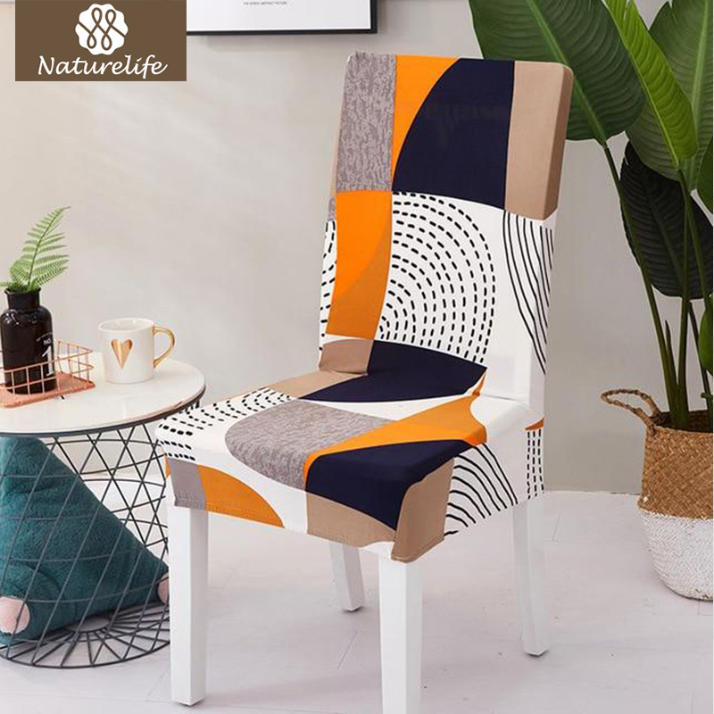 Naturelife Pattern Chair Protector Modern Silky Seat Case Removable Decorative Elastic Polyester Chair Covers Dropshipping(China)