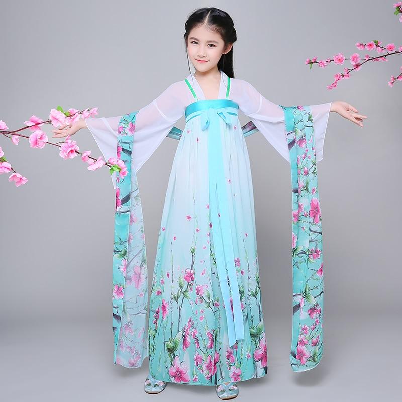 Children Chinese Folk Dance Costume Girls Hanfu Dress Chinffon Kids Princess Dance Costume for Stage Fairy Cosplay Costume 89 in Chinese Folk Dance from Novelty Special Use