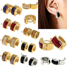 Women Men New Fashion Punk Stainless Steel Bling Earrings Hoop Huggie Ear Studs[JE01017JE01018]