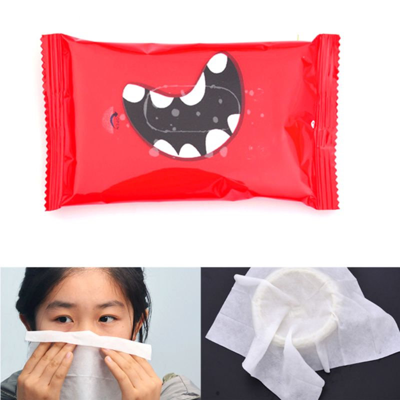 10Pcs/2Bag Disposable Non-Woven Fabric Lid Cover Removal Wet Wipes Hand Mouth Cleaning Tissue Towel Funny Printed  Wrap Portable