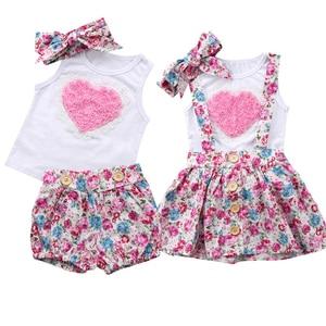 かわいい花家族マッチング幼児ベビーガールズラブレースハート Tシャツトップス + 花柄パンツスカート女の赤ちゃんの服服セット