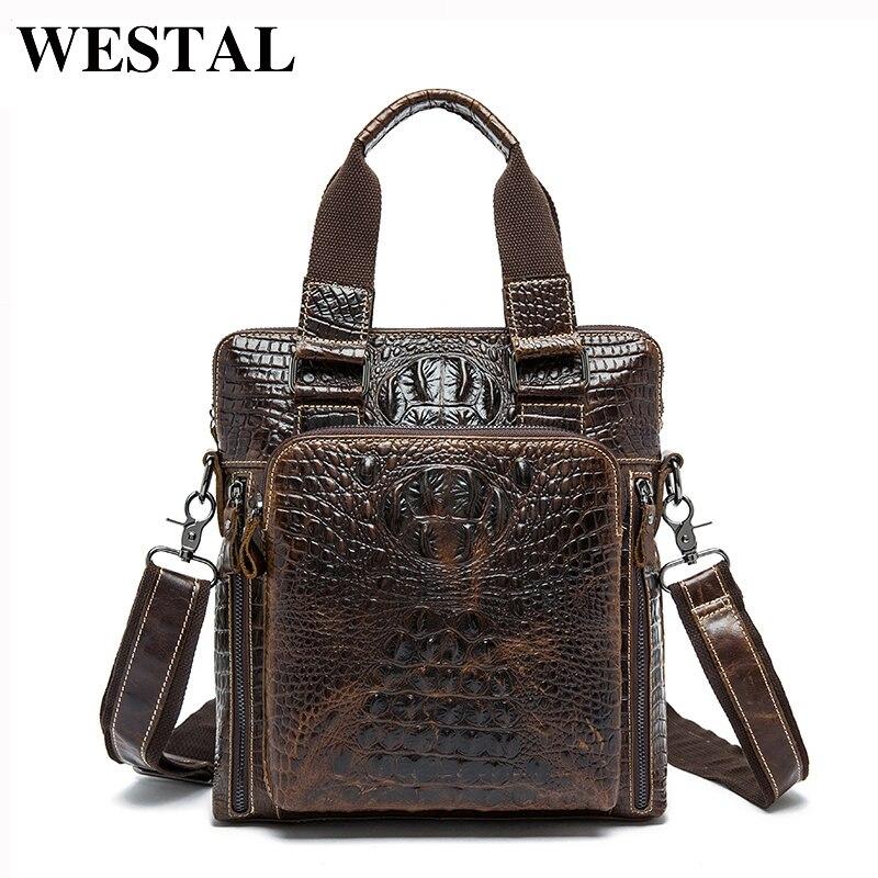 WESTAL Alligator Design Male Bag Genuine Leather Messenger Bag Men Shoulder Bags Leather Crossbody Bags for Men Handbags Totes