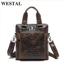 WESTAL Genuine Leather Men Bag Mens Messenger Bags Handbag Casual Shoulder Crossbody Bags Alligator Pattern Men