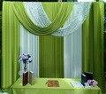 3x3 متر خلفية المسرح ستارة الستارة الحرير الجليد العشب الأخضر الأبيض الترتر غنيمة خلفية قطرات الزفاف الديكور حزب تخصيص