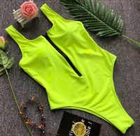 Solide zipper stück badeanzug sexy schwarz/grün bodysuit weibliche badeanzug frauen maio feminino praia biquini einem stück bademode