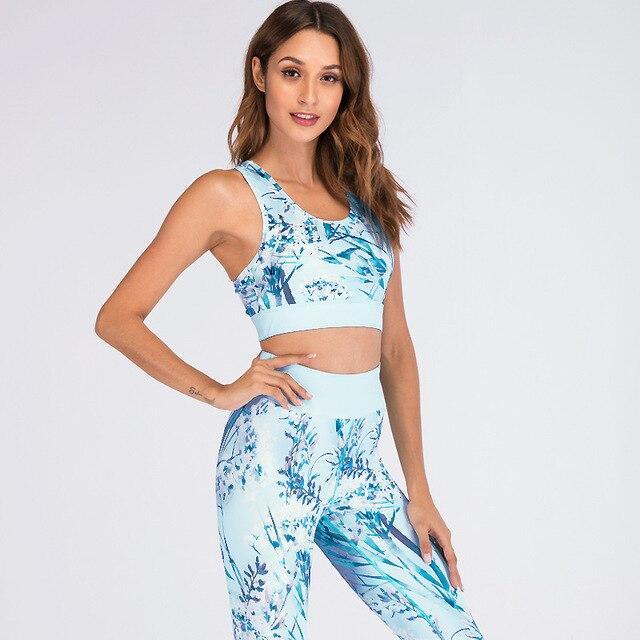 2018 New Fashion 2 Piece Sets Top+Pants Retro Printed Leggings Quick Dry Workout Suit Tracksuit Sporting Women Leggings Slim