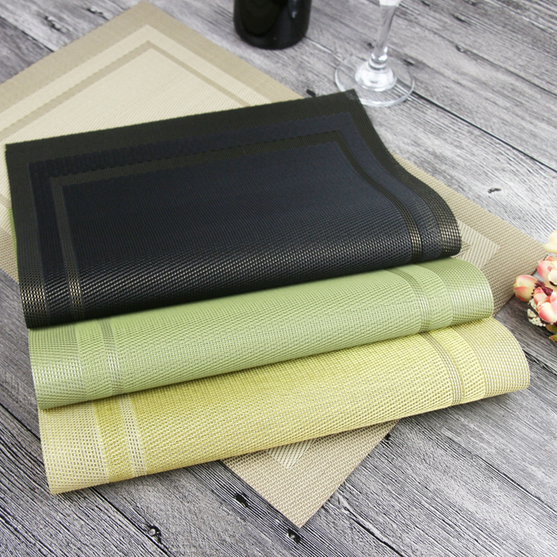 4pcs/set PVC Line Weaving Plastic Placemats For Dining Table Runner Linens Place  Mat In