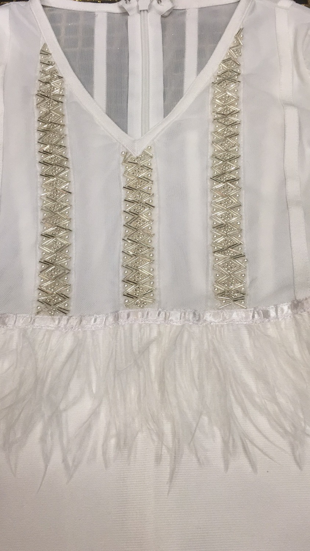 Night Longues Robe Blanc Haute Cocktail Plumes Manches Perles Qualité Celebrity cou Club V Sexy À PYwXY
