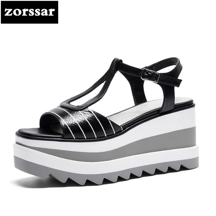 {Zorssar} 2018 Genuine Leather Wedges Women Sandals Summer Shoes Open Toe platform High heels woman Roman Gladiator Sandals 32 43 big size summer woman platform sandals fashion women soft leather casual silver gold gladiator wedges women shoes h19