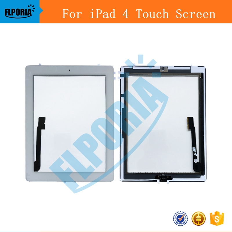 For iPad 4 Digitizer Touch Screen Display Glass Assembly - Includes Home Button Flex + Camera Holder + frame A1458 A1459 A1460 tablet touch flex cable for microsoft surface pro 4 touch screen digitizer flex cable replacement repair fix part