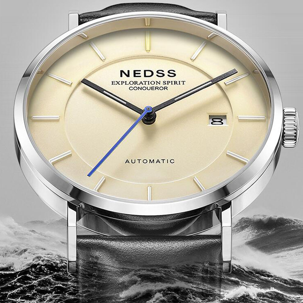 лучшая цена 2018 NEDSS High Quality Mens 9015 Automatic mechanical Watches genuine leather watch mens watches 50m waterproof clock watch