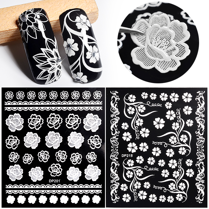 12 Style Adhesive Black White Lace Flower Leaf Nail Art Stickers Decoration Wraps Manicure Full Cover Press on Nails Sticker New free shipping new 2017 hot 13 single pure color series classic collection manicure nail polish strips nail wraps full nail sheet