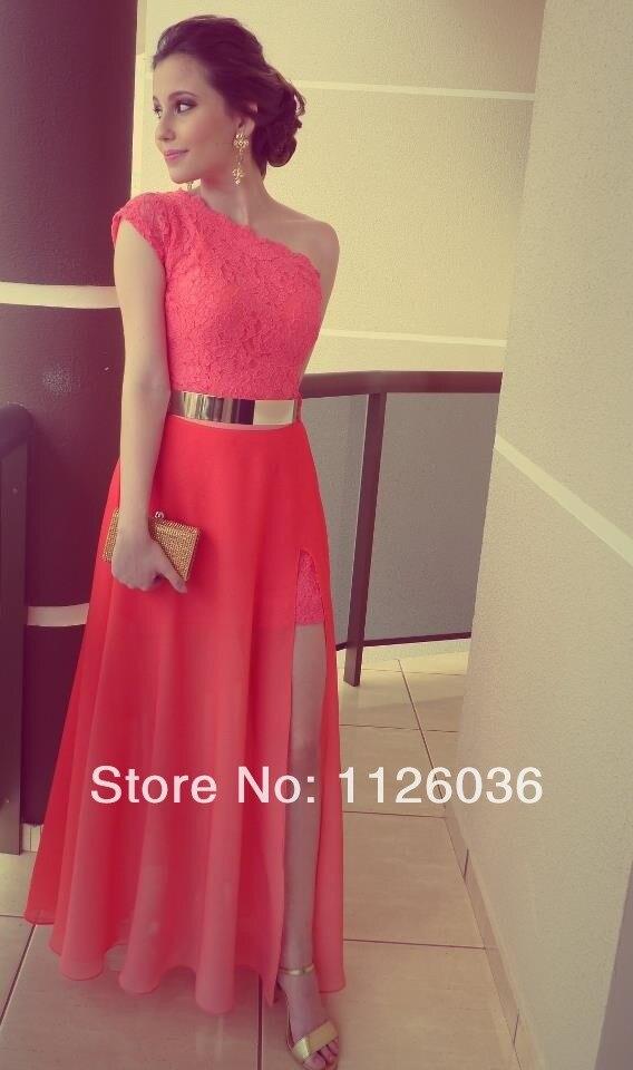 font b Dresses b font Coral Color Vestidos Formales Best Seller Lace One Shoulder Side
